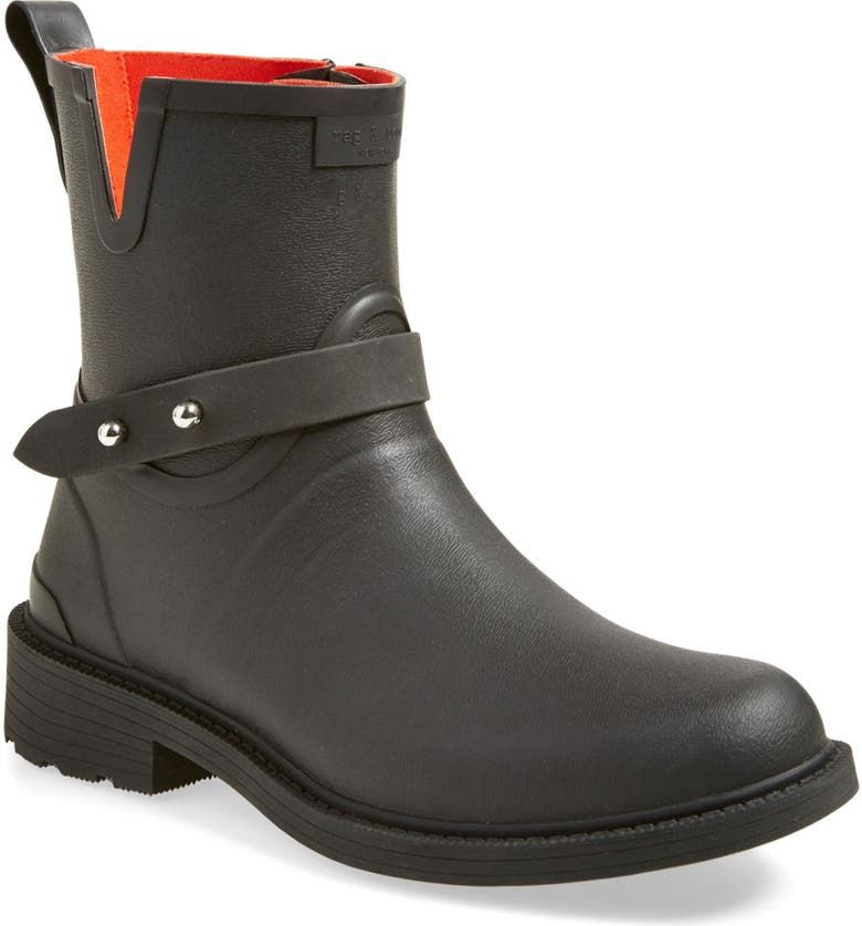 RAG & BONE Moto Rain Boot, Main, color, BLACK RUBBER