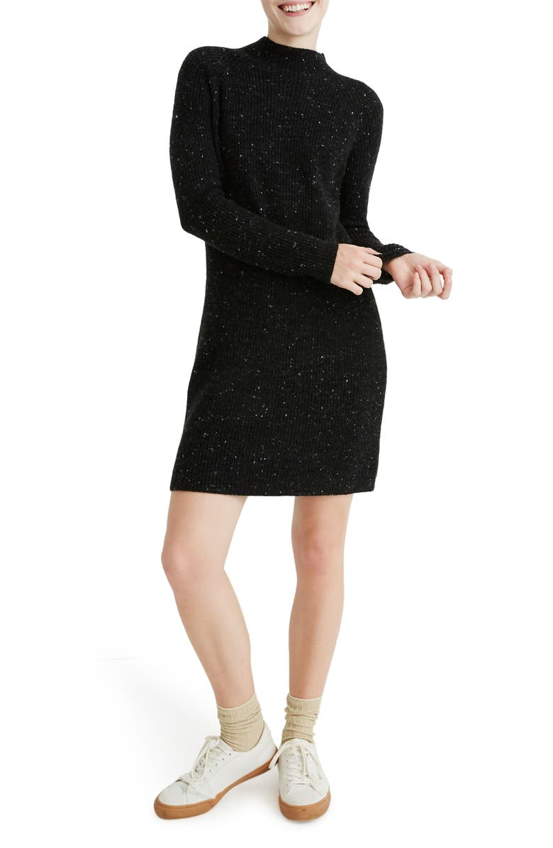 MADEWELL Donegal Rolled Mock Neck Sweater Dress, Main, color, 020