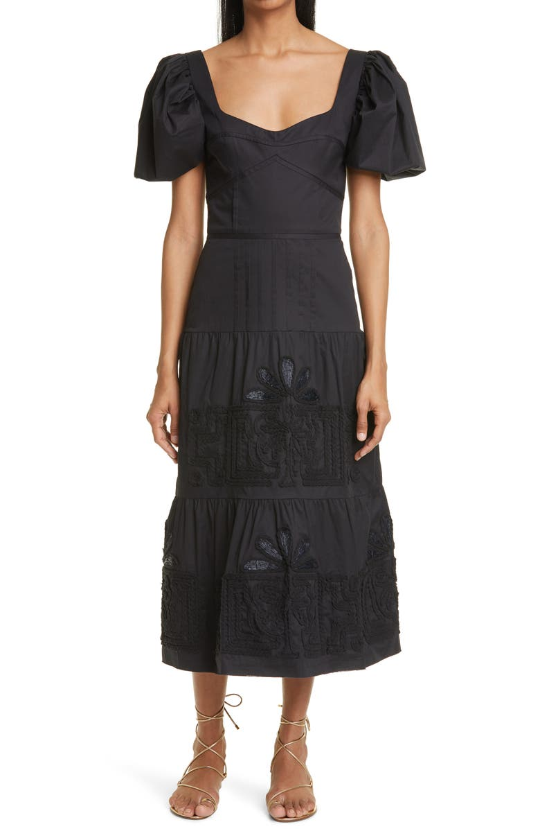 JOHANNA ORTIZ Unchanging Legacy Embroidered Puff Sleeve Dress, Main, color, BLACK