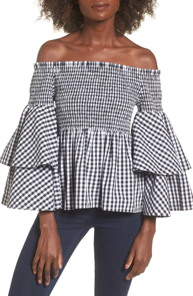 BP. Ruffle Sleeve Off the Shoulder Top, Main, color, 001