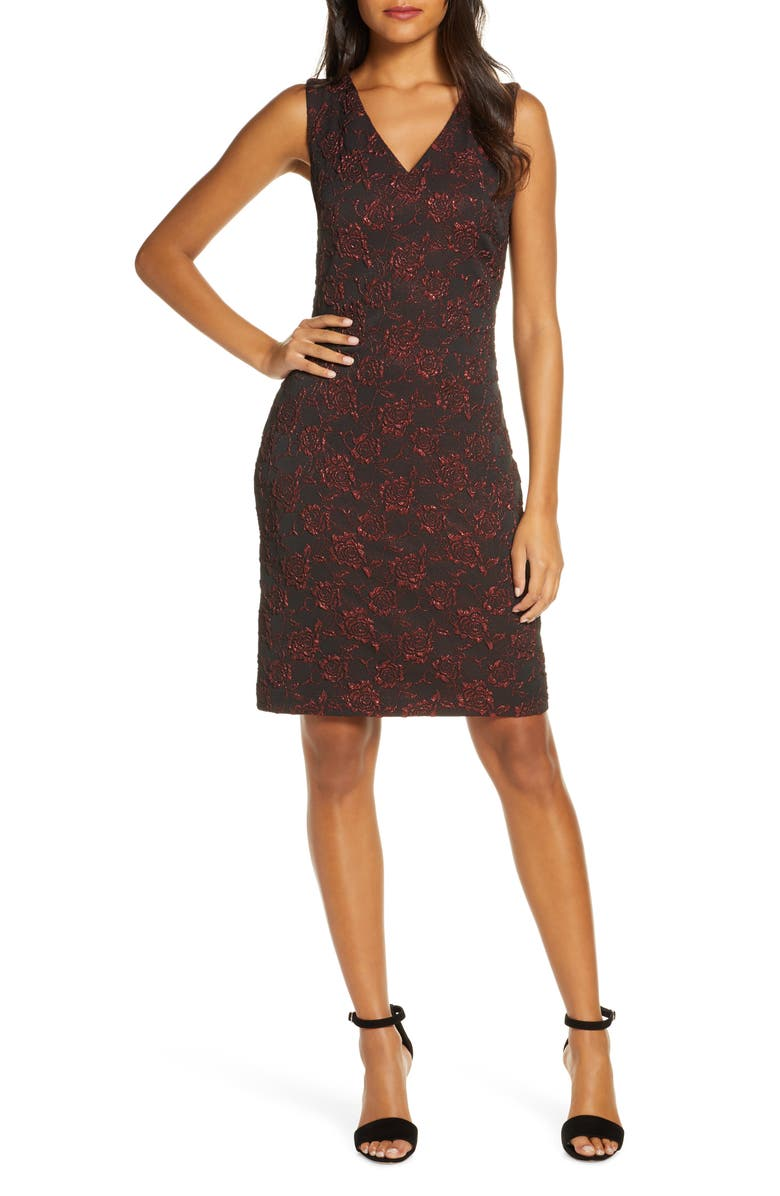 DONNA RICCO Metallic Floral Brocade Sleeveless Dress, Main, color, RED/ BLACK