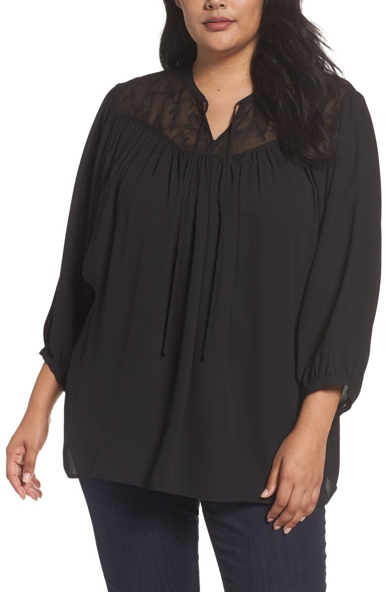 SEJOUR Embroidered Peasant Blouse, Main, color, 001