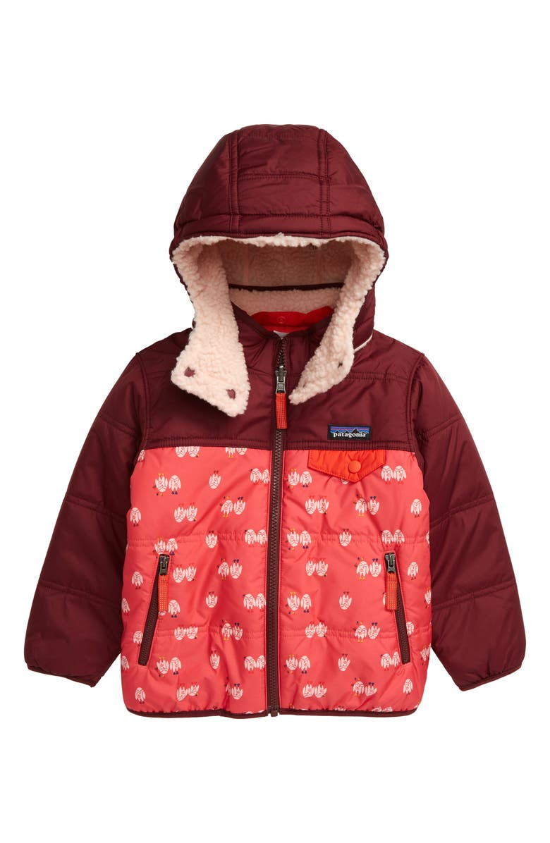 PATAGONIA Tribbles Reversible Hooded Jacket, Main, color, LIGHT TWINKLE OWLS/ RANGE PINK