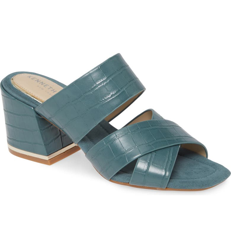 KENNETH COLE NEW YORK Maisie Slide Sandal, Main, color, SEA GREEN LEATHER