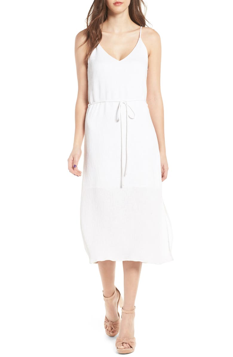 J.O.A. Tie Waist Midi Dress, Main, color, 102