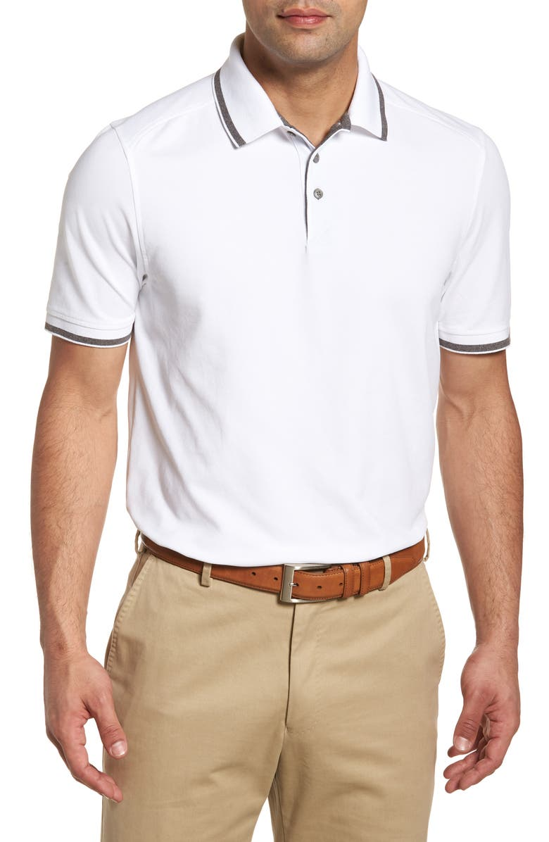 CUTTER & BUCK Advantage Classic Fit Tipped DryTec Polo, Main, color, White