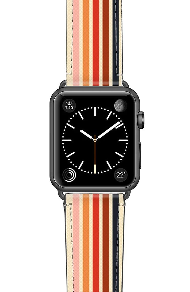 CASETIFY Retro Saffiano Faux Leather Apple Watch<sup>®</sup> Strap, Main, color, SPACE GREY
