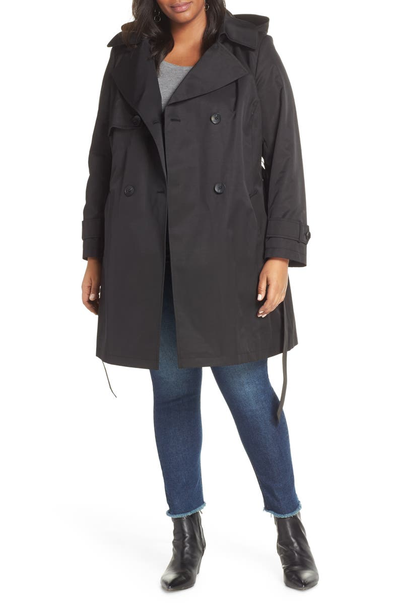 HALOGEN<SUP>®</SUP> Double Breasted Hooded Trench Coat, Main, color, 001
