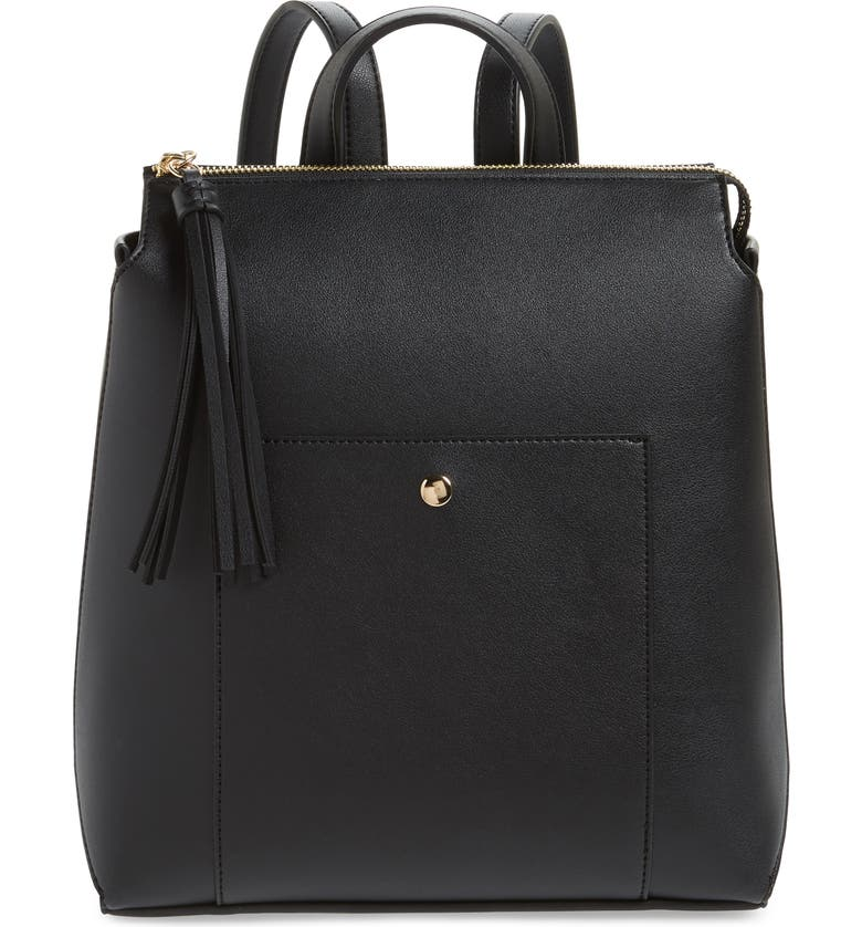 SOLE SOCIETY Fluri Faux Leather Backpack, Main, color, Black