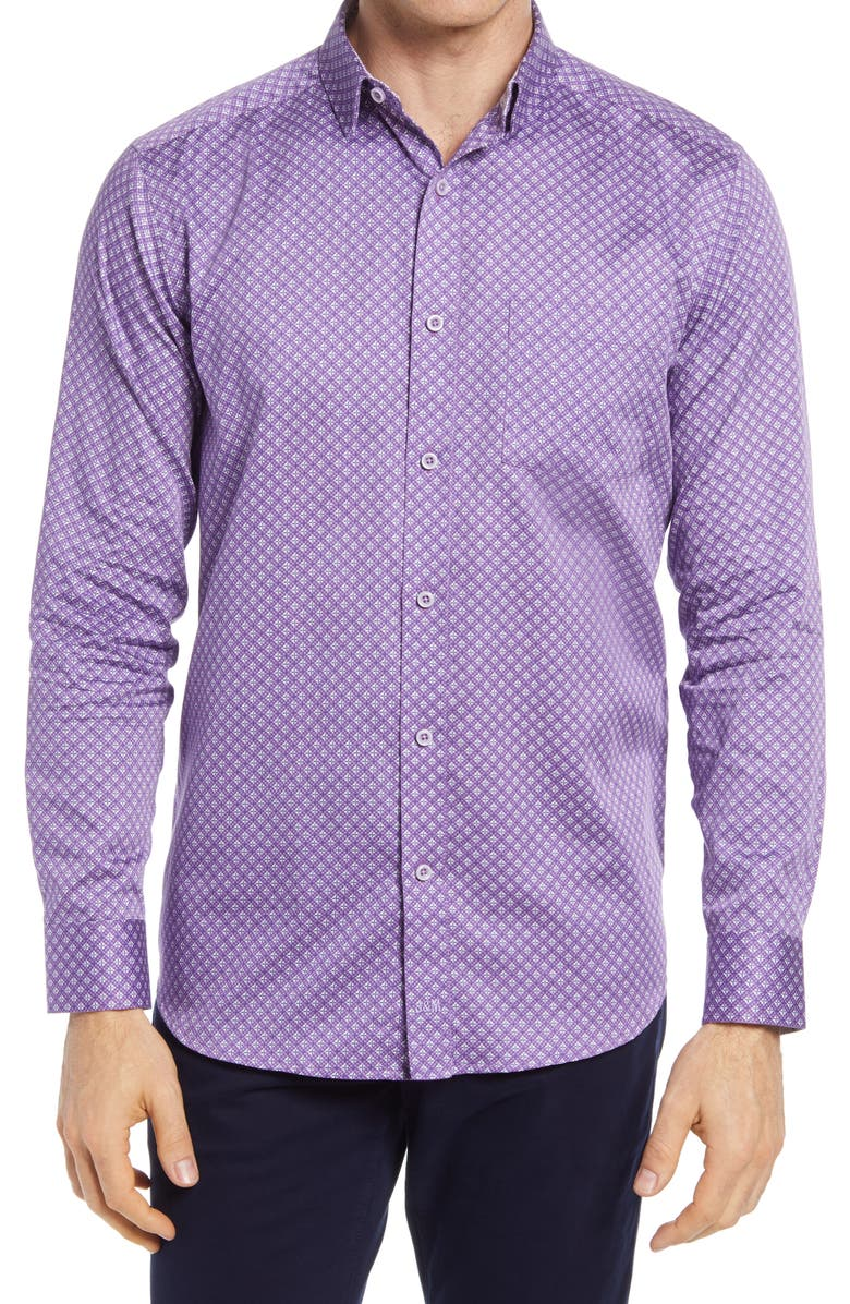 JOHNSTON & MURPHY Diamond Grid Button-Up Shirt, Main, color, PURPLE