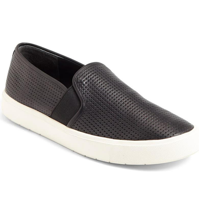 VINCE Blair 5 Slip-On Sneaker, Main, color, PERFORATED BLACK LEATHER