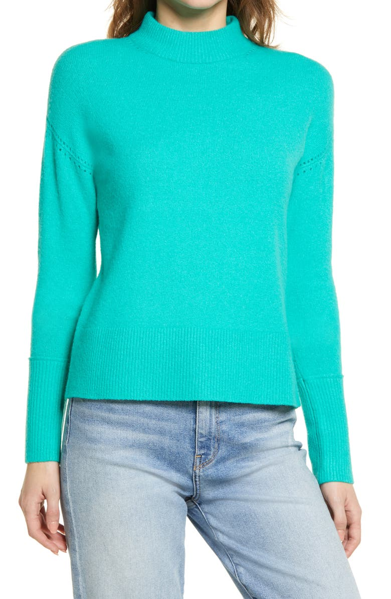 HALOGEN<SUP>®</SUP> Mock Neck Sweater, Main, color, GREEN ARCADIA