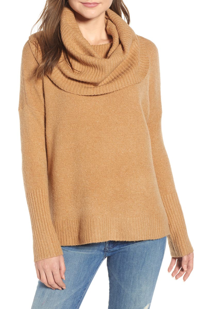 FRENCH CONNECTION Cowl Neck Sweater, Main, color, CAMEL MEL