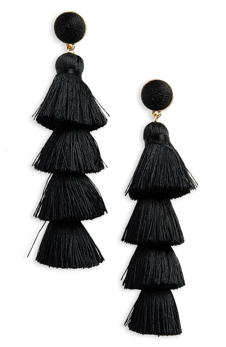 BAUBLEBAR Gabriela Tassel Fringe Earrings, Main, color, 001