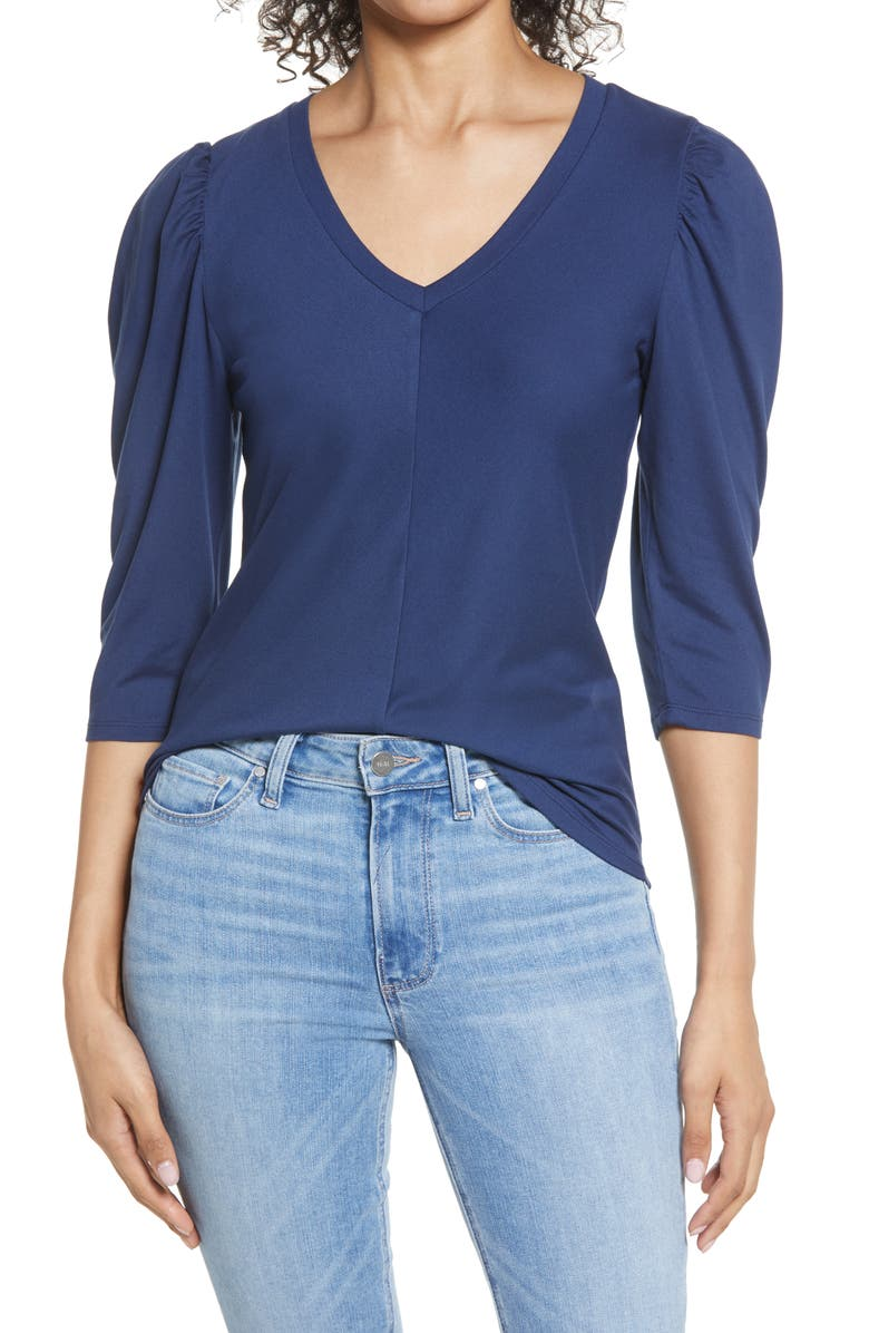 BOBEAU Puff Sleeve Butter Top, Main, color, NAVY