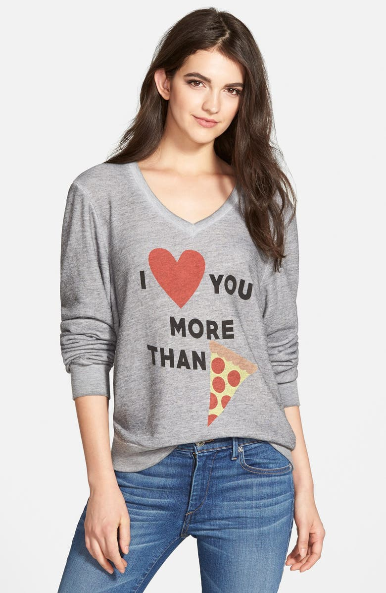 WILDFOX 'More Than Pizza' V-Neck Pullover Sweatshirt, Main, color, 020