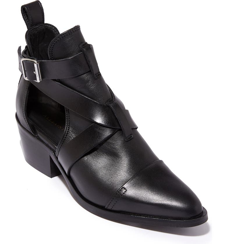 ALLSAINTS Darcy Pointed Toe Bootie, Main, color, BLACK LEATHER