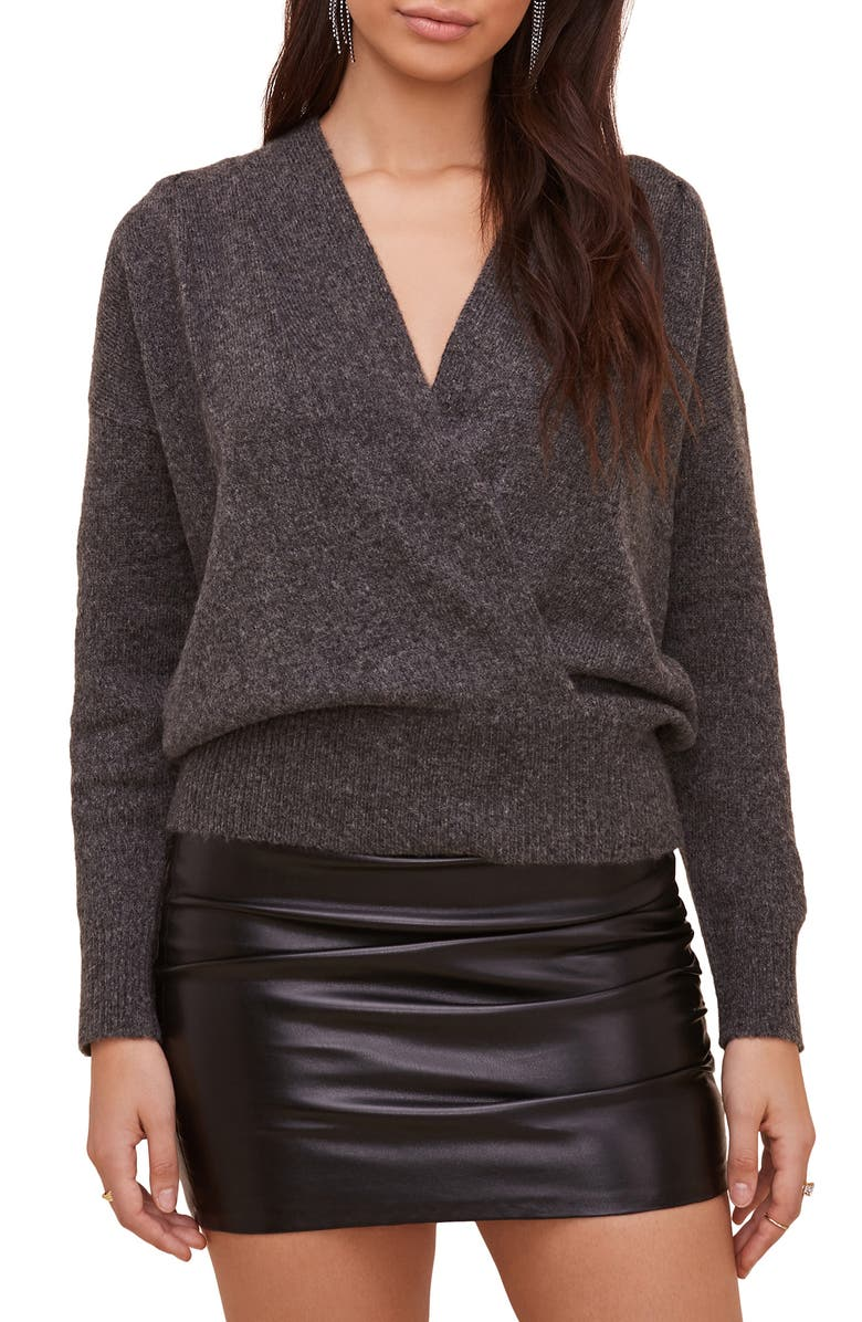 ASTR THE LABEL Pleated Wrap Front Sweater, Main, color, CHARCOAL
