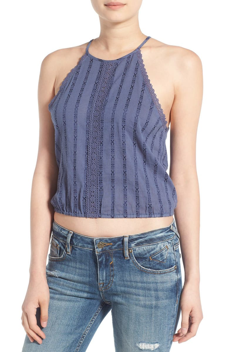 CHLOE & KATIE Embroidered Button Back Crop Tank, Main, color, Blue
