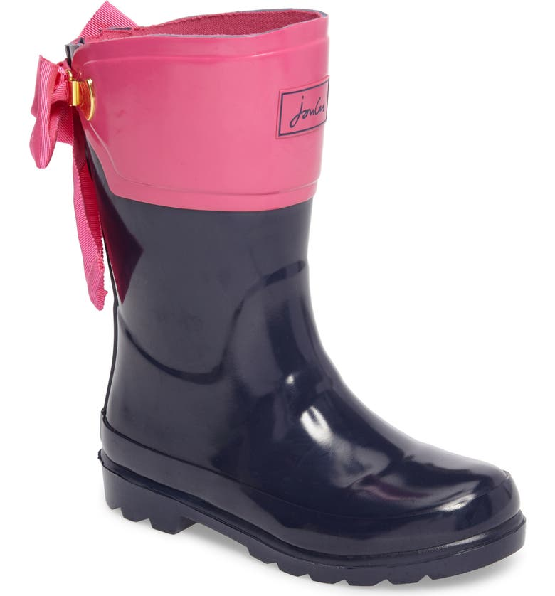 JOULES Evedon Bow Waterproof Rain Boot, Main, color, FRENCH NAVY