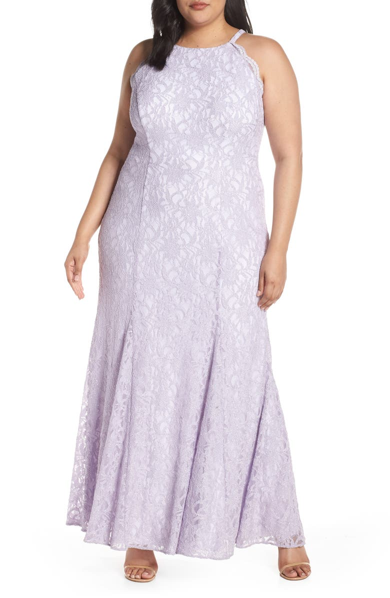 MORGAN & CO. Halter Bodice Glitter Lace Evening Dress, Main, color, 530