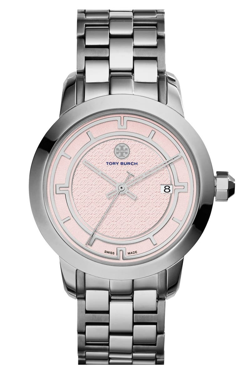 TORY BURCH 'Tory' Large Round Bracelet Watch, 37mm, Main, color, 040