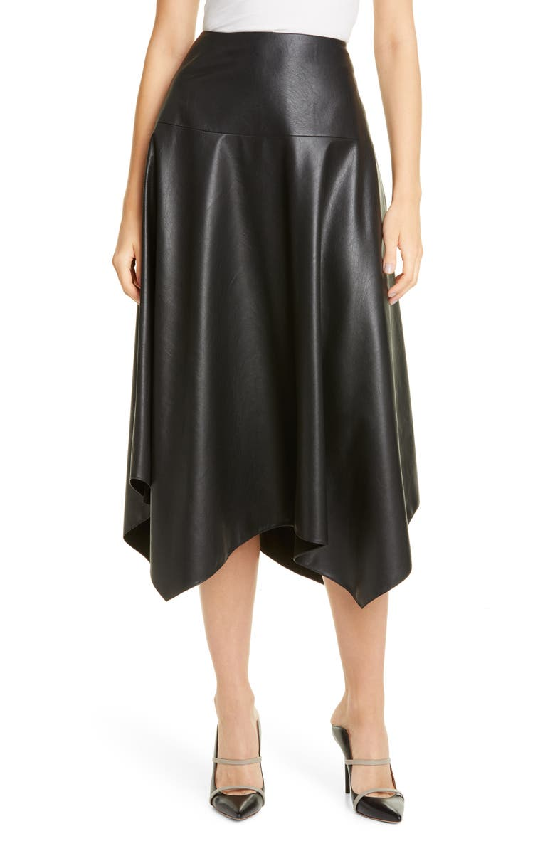 REBECCA TAYLOR Faux Leather Skirt, Main, color, 001