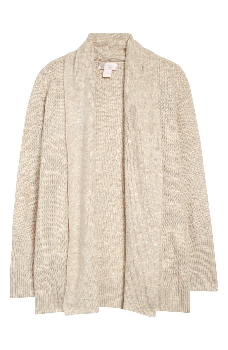 RACHEL PARCELL Shawl Collar Open Cardigan, Main, color, HEATHER OATMEAL