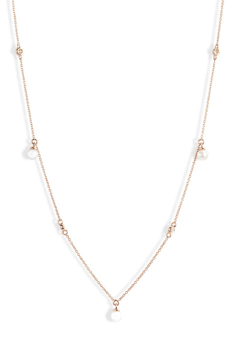 DANA REBECCA DESIGNS Ivy Pearl & Diamond Station Necklace, Main, color, ROSE GOLD