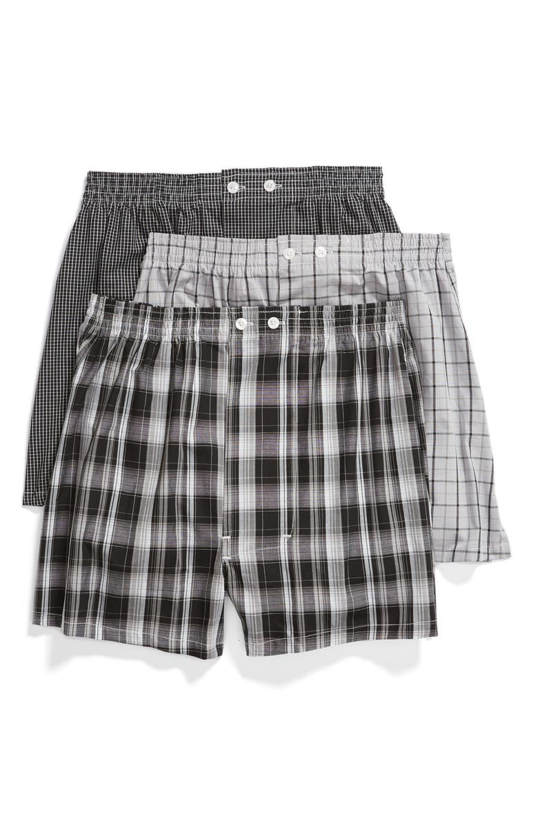 NORDSTROM 3-Pack Classic Fit Boxers, Main, color, BLACK- WHITE PLAID PACK
