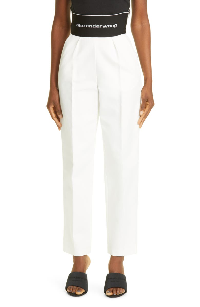ALEXANDER WANG Logo Waist Straight Leg Ankle Pants, Main, color, SNOW WHITE