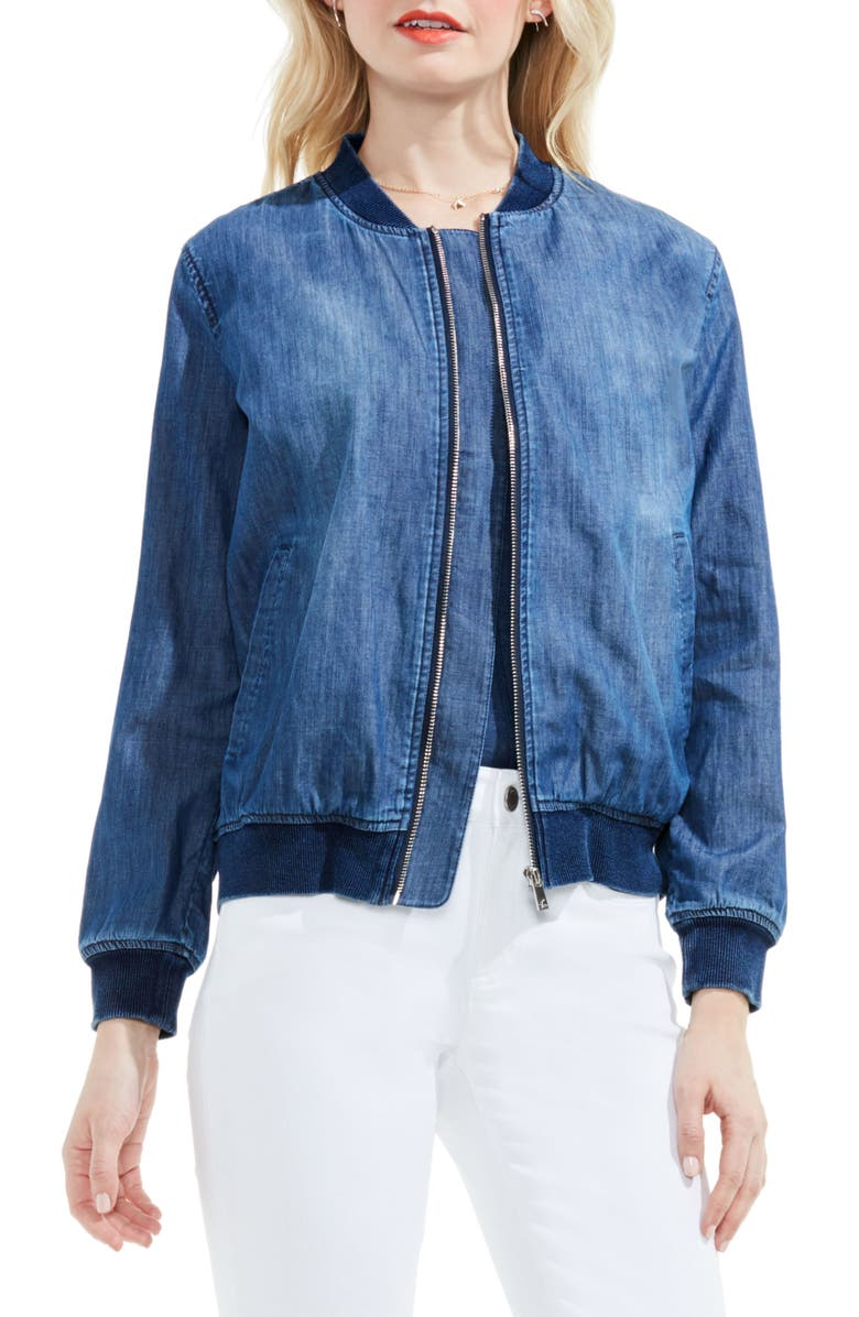 TWO BY VINCE CAMUTO Washed Denim Bomber Jacket, Main, color, AUTHENTIC