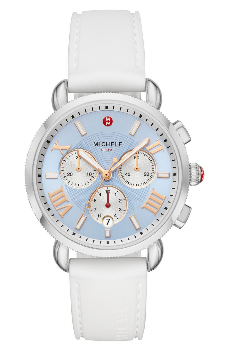 MICHELE Sport Sail Chronograph Watch Head with Silicone Strap, 38mm, Main, color, WHITE/ SKY SUNRAY/ SILVER