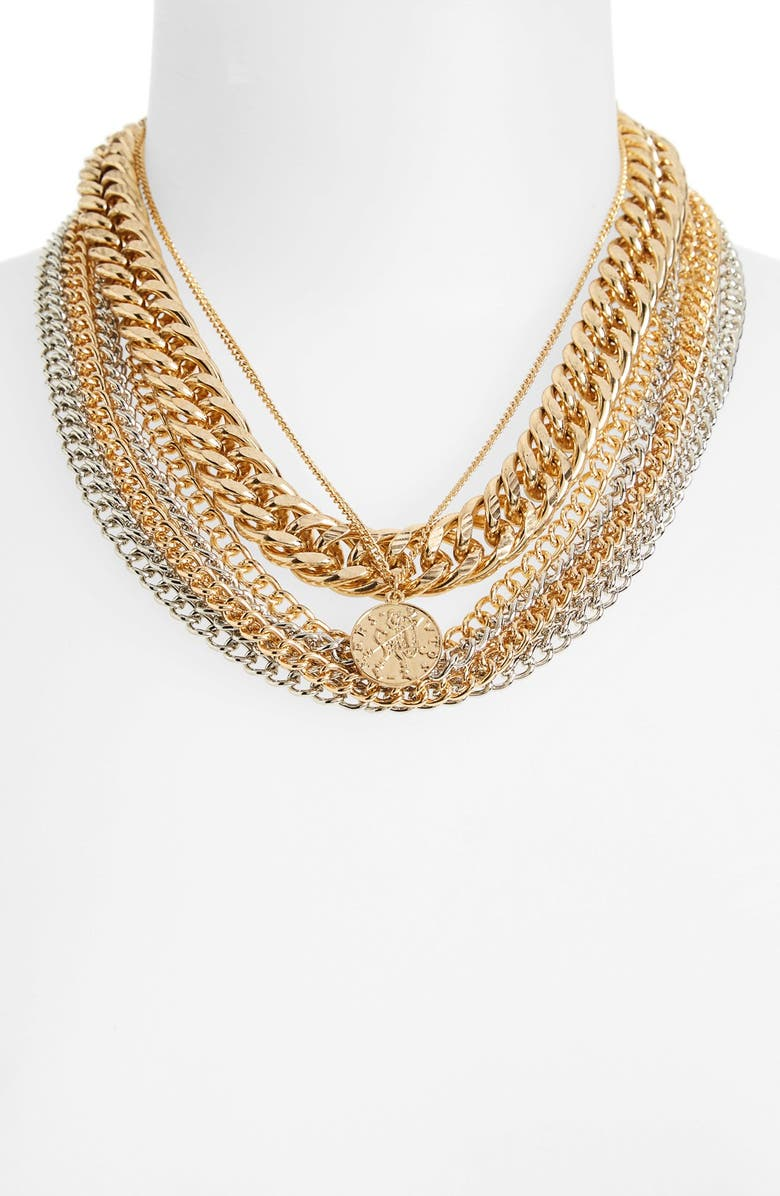 TOPSHOP Chunky Chain Multi Row Necklace, Main, color, 710