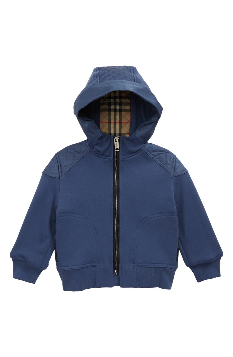 BURBERRY Kids' Timothie Monogram Quilted Hoodie, Main, color, PEBBLE BLUE