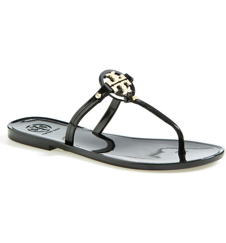 TORY BURCH Mini Miller Jelly Thong Sandal, Main, color, BLACK