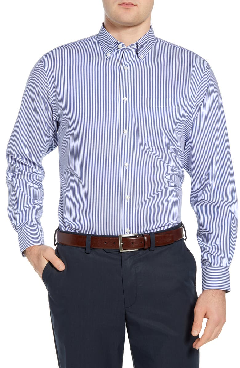 NORDSTROM Men's Shop Smartcare<sup>™</sup> Traditional Fit Stretch Stripe Dress Shirt, Main, color, 420