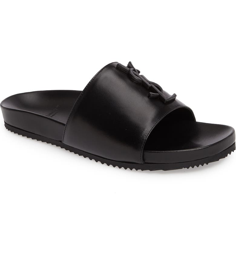 SAINT LAURENT Joan Slide Sandal, Main, color, 001