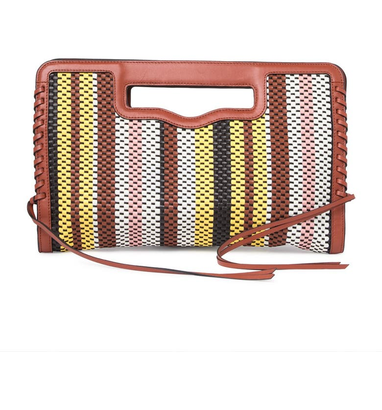 REBECCA MINKOFF Handheld Striped Woven Leather Clutch, Main, color, BUTTERFLY