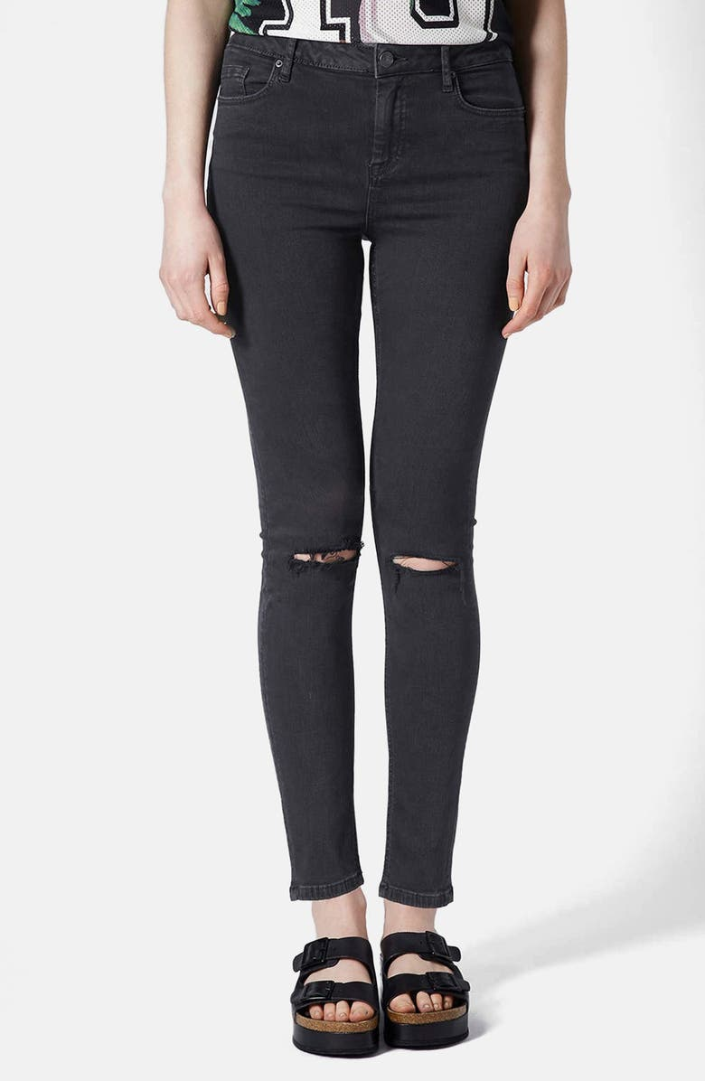 TOPSHOP Moto 'Jamie' Ripped High Rise Ankle Skinny Jeans, Main, color, 001