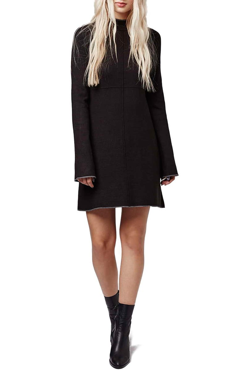 TOPSHOP Funnel Neck Swing Dress, Main, color, 001