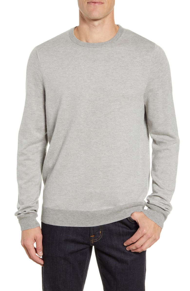 NORDSTROM Men's Shop Bird's Eye Crewneck Sweater, Main, color, GREY OIL BIRDSEYE