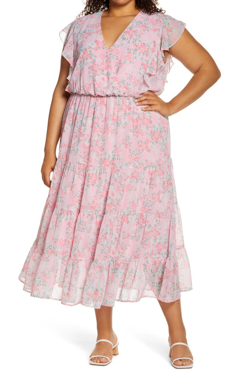 CHARLES HENRY Ruffle Sleeve Floral Faux Wrap Dress, Main, color, PINK BLOSSOMS