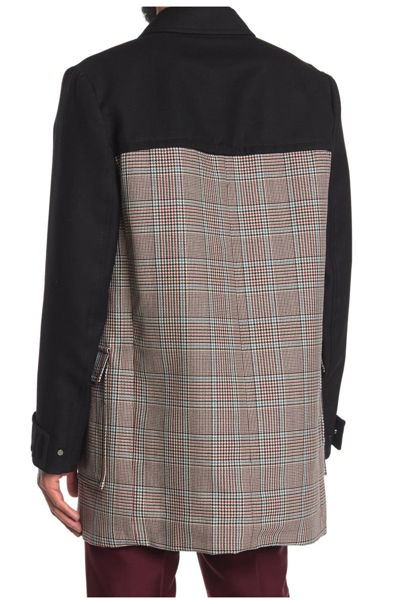 VALENTINO Contrast Plaid Double Breasted Trench Coat, Main, color, NAVY/MULTI