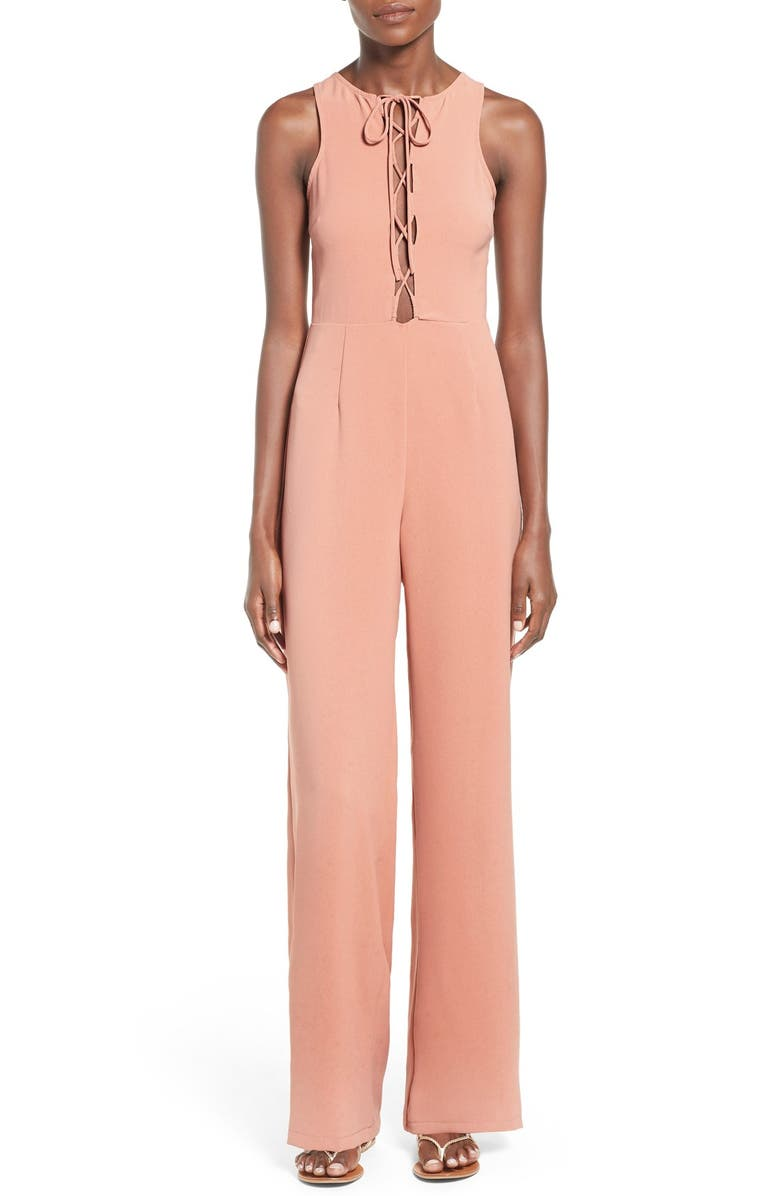 MISSGUIDED Lace-Up Sleeveless Jumpsuit, Main, color, 681