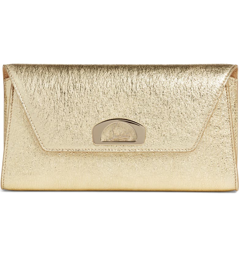 CHRISTIAN LOUBOUTIN Vero Dodat Metallic Calfskin Clutch, Main, color, 710