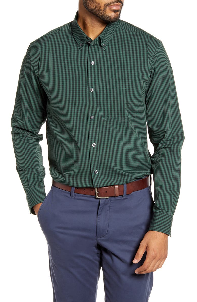 CUTTER & BUCK Anchor Classic Fit Gingham Shirt, Main, color, HUNTER