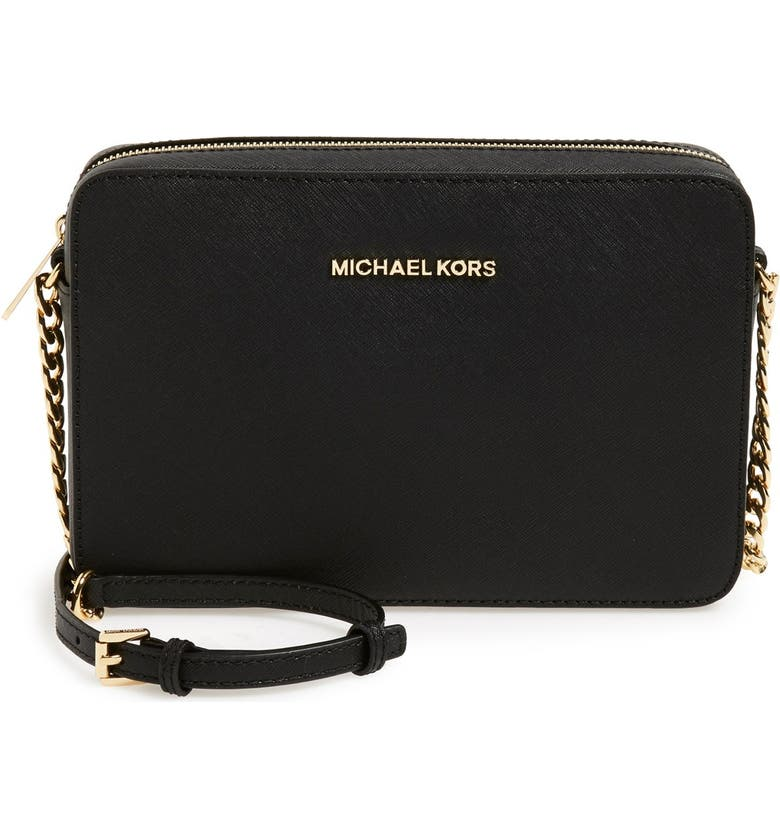 MICHAEL MICHAEL KORS 'Large Jet Set' East/West Saffiano Crossbody Bag, Main, color, 001