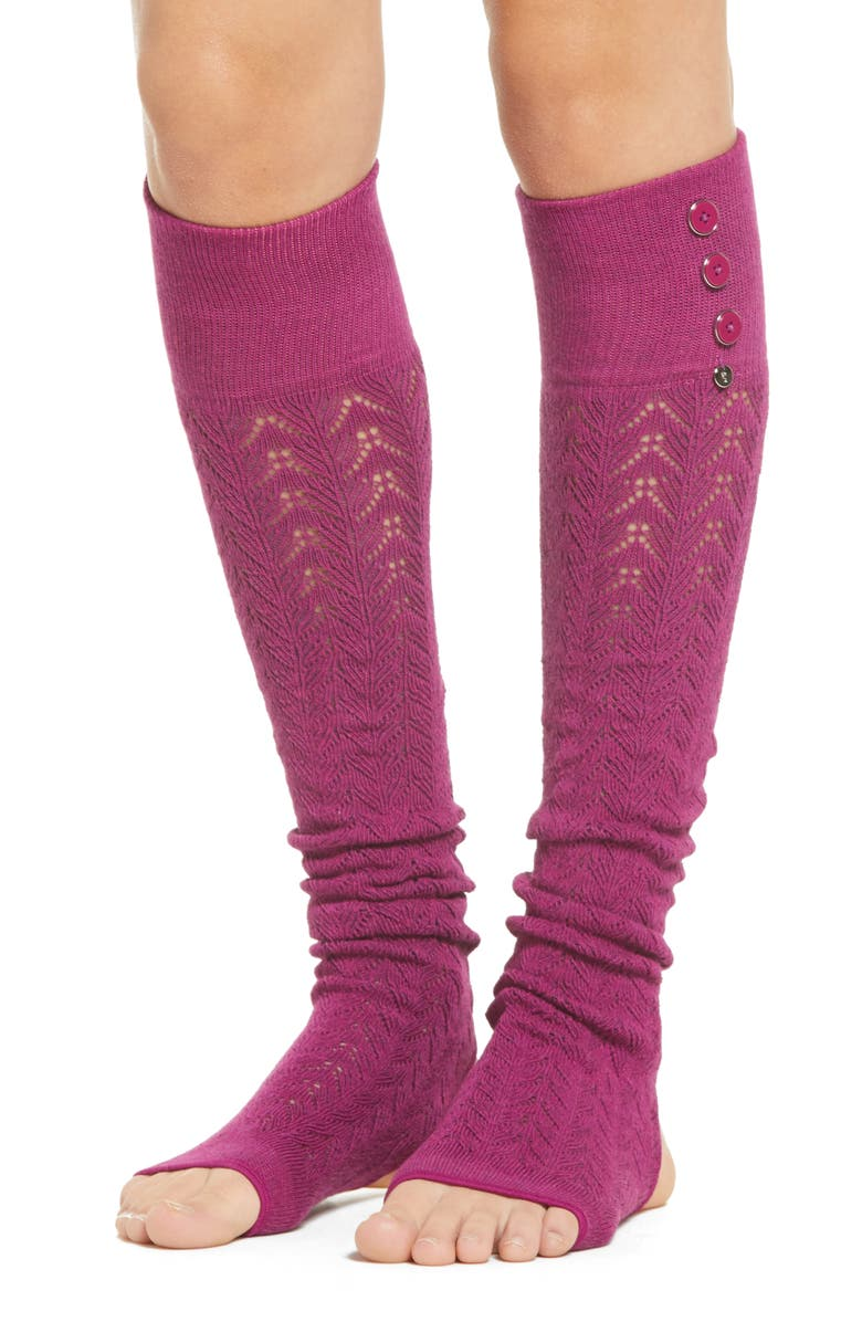 TOESOX Taya Pointelle Leg Warmers, Main, color, BERRY