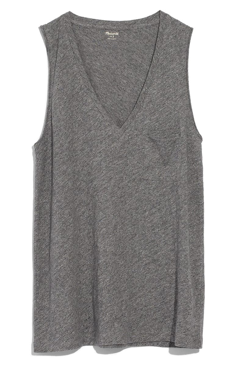 MADEWELL Whisper Cotton V-Neck Tank, Main, color, HEATHER MERCURY